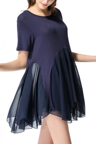Summer Navy Simple Plain Round Neck Short Sleeve Mini Asymmetric Chiffon Dress