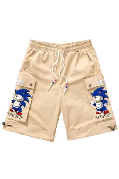 Summer New Fashion Cartoon Printed Flap Pocket Side Drawstring Waist Casual Cargo Shorts for Guys