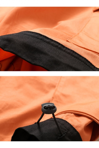 Summer New Fashion Cartoon Printed Flap Pocket Side Drawstring Waist Casual Cargo Shorts