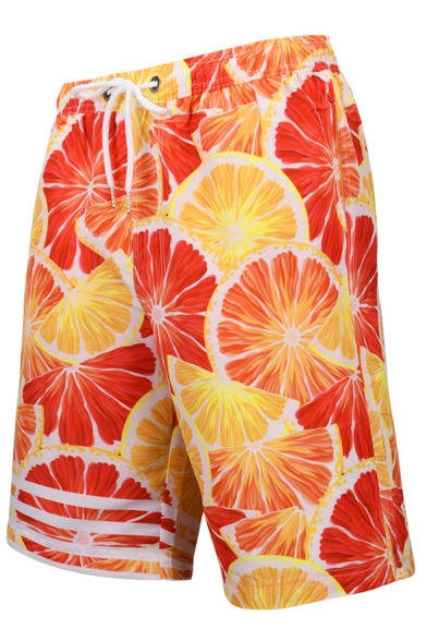 Summer Popular Orange Grapefruit Stripe Printed Drawstring Waist Beach Shorts Swim Trunks for Men with Pocket and Mesh Liner