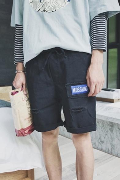 Summer Trendy Letter Patchwork Destroyed Ripped Rolled Cuff Drawstring Waist Denim Shorts