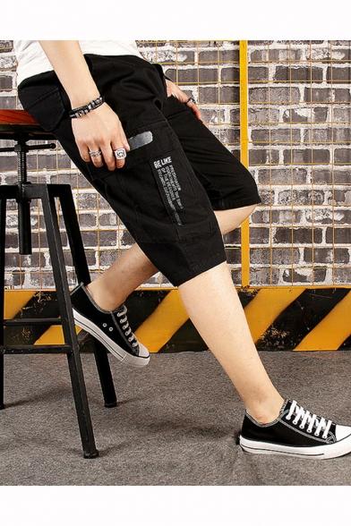 Summer Trendy Letter Print Flap Pocket Side Casual Cotton Cargo Shorts for Men