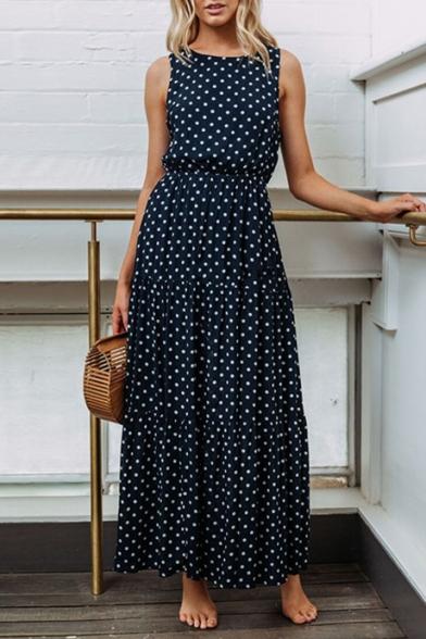 Summer Trendy Polka Dot Pattern Round Neck Sleeveless Maxi Tank Dress