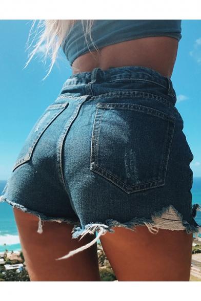 Summer Vintage Classic High Waist Distressed Raw Hem Denim Shorts for Women