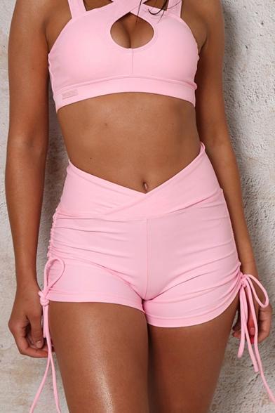 22928423199f2 Summer Womens Hot Popular Pink Drawstring Side Ruched Back Plain Bum