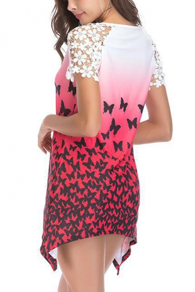Trendy Lace Short Sleeve Round Neck Butterfly Printed Longline Asymmetrical T-Shirt