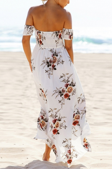 Womens Holiday Fancy Floral Printed Sexy Off the Shoulder Short Sleeve Split Front Maxi Beach Dress