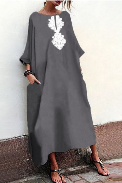 Womens Hot Fashion Vintage Round Neck Long Sleeve Maxi Linen Swing Dress
