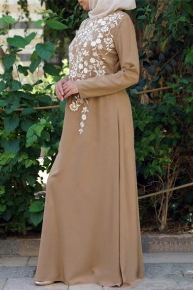 Womens Hot Popular Plain Long Sleeve Round Neck Floral Print Floor Length Maxi A-Line Dress
