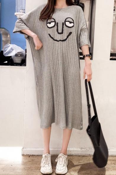 Womens Hot Stylish Over Size Plain Short Sleeves Cartoon Print Midi T-Shirt Dress