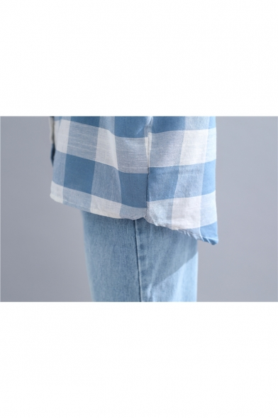 Womens Light Blue Plaid Printed Long Sleeve Button Down Loose Fit Shirt