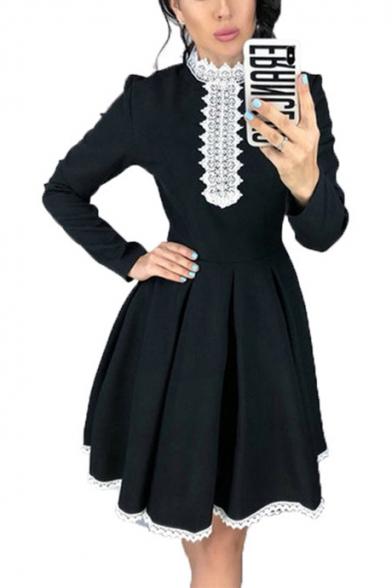 Womens Retro Plain Chic Lace-Trimmed Long Sleeve Midi A-Line Dress