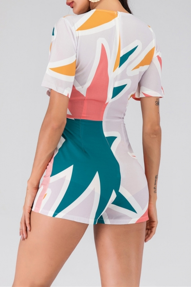 Womens Stylish Geometric Pattern Hollow Out Bow Knot Tie Short Sleeves Skinny Fit Rompers