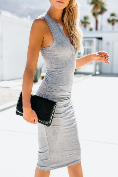 Womens Summer Sexy V-Neck Sleeveless Midi Bodycon Tank Dress