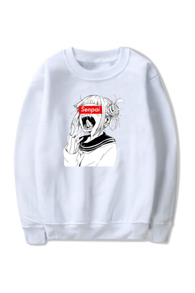 3D SENPAI Letter Comic Ahegao Figure Printed Round Neck Long Sleeve Loose Fit Unisex Pullover Hoodie