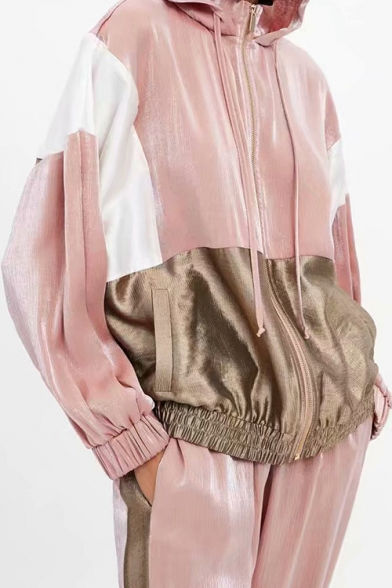 Boxy Color-Block Drawstring Hooded Zipper Elastic Hem Sport Jacket with Pocket