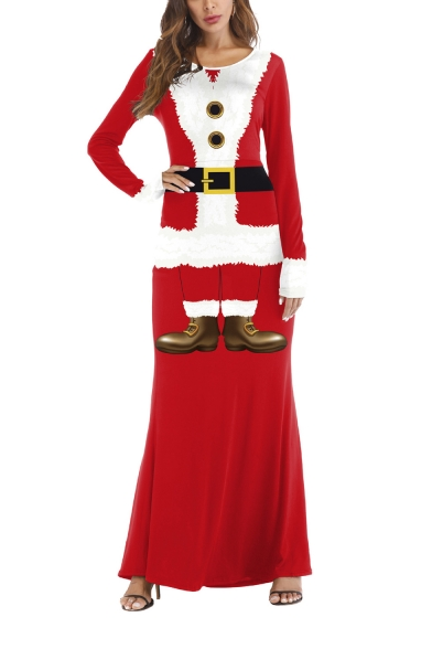 Christmas Santa Claus Cosplay Costume Round Neck Long Sleeve Red Maxi Dress