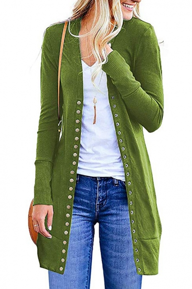Classic Solid Color Single Breasted Long Sleeve Longline Open Front Coat