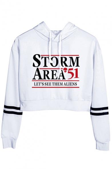 Fashion Letter Storm Area Stripe Long Sleeve Crop Sport Hoodie