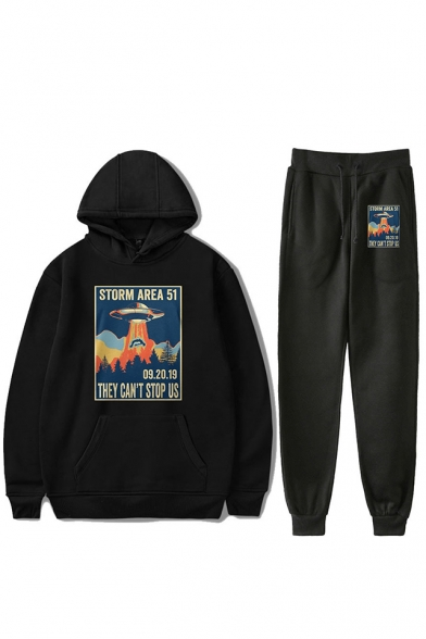 Funny Storm Area UFO Printed Loose Sport Hoodie with Joggers Sweatpants Two-Piece Set, LC554150, Black;red;white;gray;navy