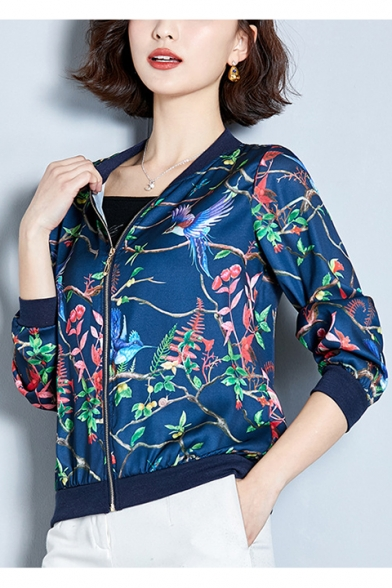 Graceful Birds and Floral Printed Long Sleeve Satin Baseball Jacket Skin Coat for Women, LM557407, Blue;yellow