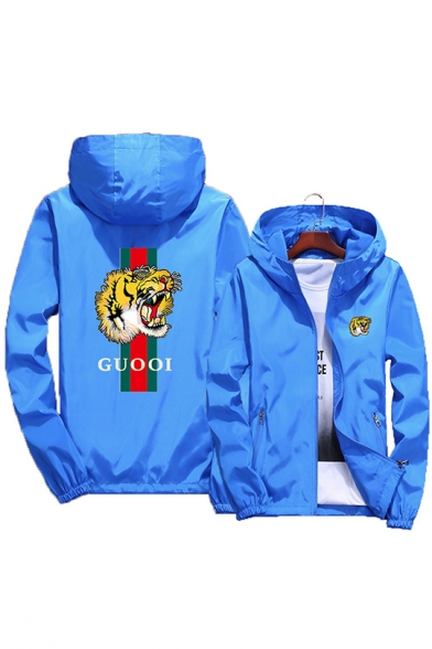 GUOOI Tiger Pattern Print Zipper Pockets Plain Hooded Zip Up Jacket Coat