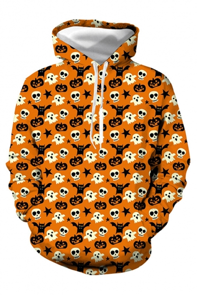 Halloween New Fashion Cute Pumpkin Skull All-Over Printed Long Sleeve Loose Fit Unisex Orange Hoodie