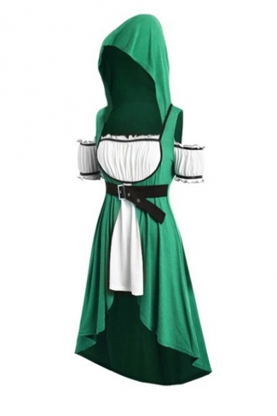 Hot Fashion Fake Two-Piece Cold Shoulder Short Sleeve Belted Waist Midi A-Line Hooded Dress
