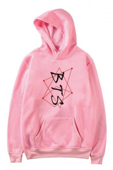 Hot Popular Boy Group BTS Geometric Lines Printed Long Sleeve Unisex Pullover Hoodie