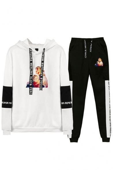 Hot Sale Autumn Winter Comic Print Long Sleeve Hoodie Top with Drawstring Sweatpants Two Piece Set