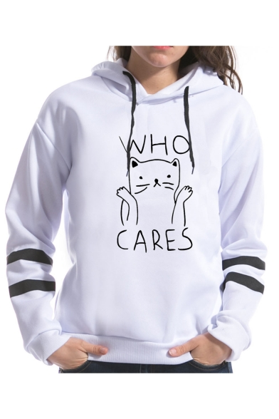 Hot Sweet White Striped Sleeve Who Care Cartoon Cat Letter Printed Pullover Hoodie