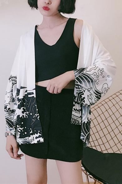 Japan Style Women Casual Dragon Printed Kimono Haori Jacket Coat