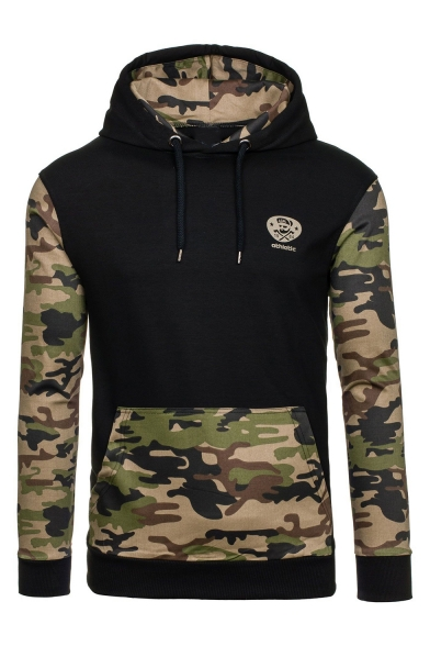 Men's Cool Fashion Colorblock Camouflage Letter ATHLETIC Printed Drawstring Hooded Long Sleeve Casual Hoodie