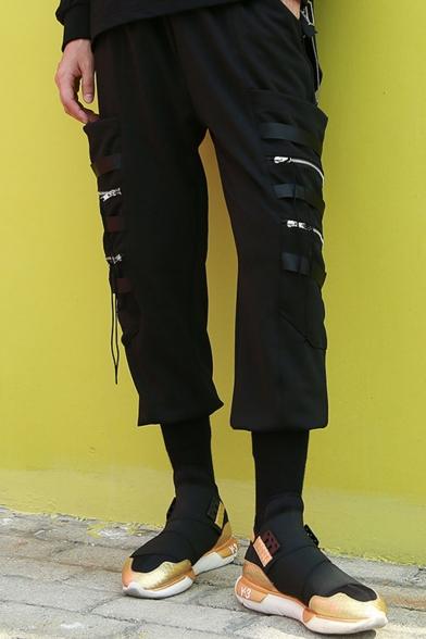 Men's Designer Fashion Solid Color Zipper Ribbon Embellished Black Cool Cargo Pants