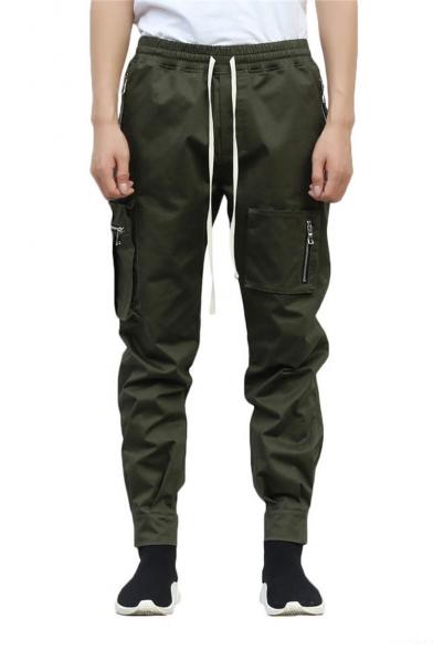 Men's New Fashion Solid Color Zipped Pocket Drawstring Waist Trendy Sports Cargo Pants