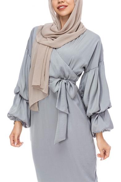 Moslem Hot V-Neck Puff Sleeve Bow-Tied Waist Gray Sheath Column Maxi Dress