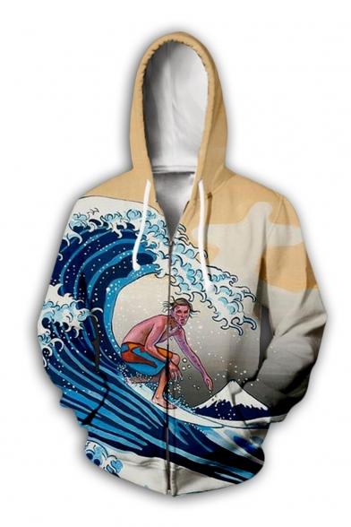 New Arrival Creative Fashion Wave Figure 3D Printed Long Sleeve Drawstring Zip Up Hoodie