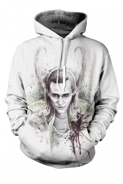 New Arrival Popular Comic Figure Pattern Long Sleeve White Loose Pullover Hoodie
