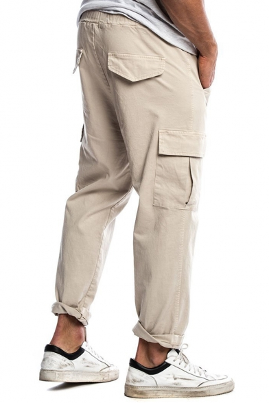 New Arrival Solid Color Drawstring Waist Casual Chino Pants Cargo Pants with Side Pocket for Men