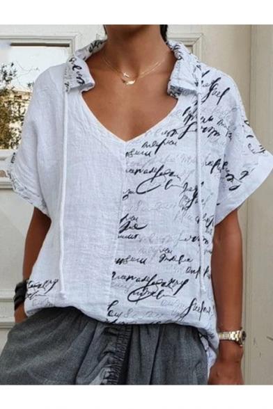 New Stylish Women Letter Print V Neck Short Sleeve Loose Linen Blouse