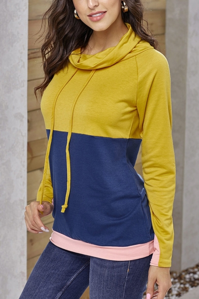 New Trendy Color Block High Neck Long Sleeve Pullover Sweatshirt