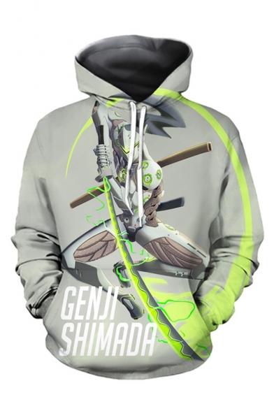 Overwatch Comic Figure 3D Printed Long Sleeve Green Loose Hoodie