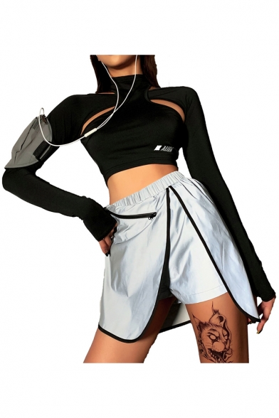 Personalized Long Sleeve High Neck Cutout Slim Fitted Cropped T Shirt