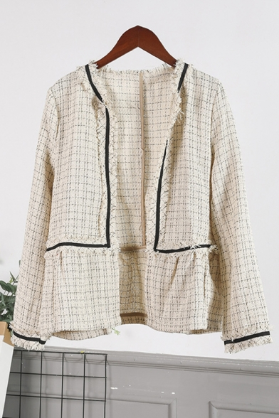 Plaid Print Line-Panel Raw Edges Fringe-Trimmed Open Front Coat in Twill