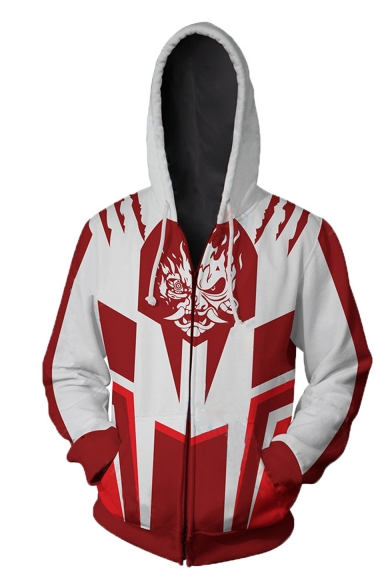 Popular Game Cyberpunk 2077 3D Printed Cosplay Costume Long Sleeve Red and White Zip Up Hoodie