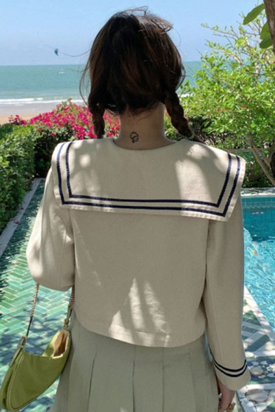 Sailor Collar Stripes Patch Pocket Double Breasted Preppy Chic Cropped Coat Jacket