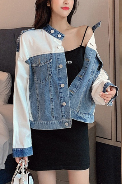 Stand Up Collar Color-Blocked Contrast Stripes Two-Tone Denim Jacket Coat with Pockets