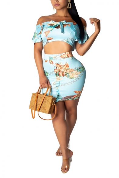 Summer Fancy Blue Leaf Printed Tied Off Shoulder Crop Top with Mini Bodycon Skirt Two-Piece Co-ords, LM553082