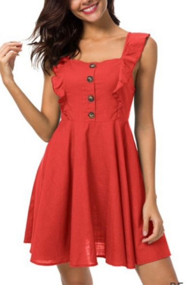 Summer Fashion Plain Ruffled Strap Sleeveless Button Front Linen Mini A-Line Dress