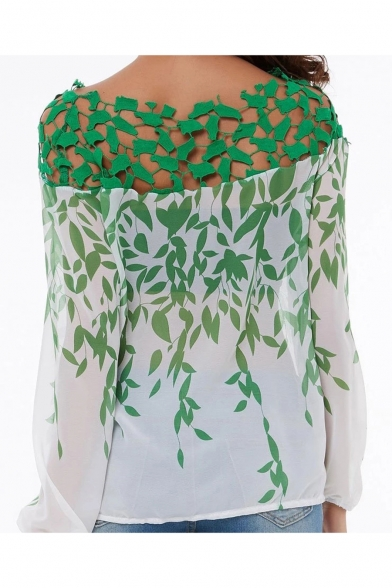 Summer Stylish Leaf Pattern Long Sleeve Casual Loose Green Blouse for Women
